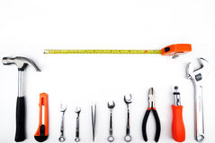 Tools. Handyman set of tools on the white background Royalty Free Stock Photo