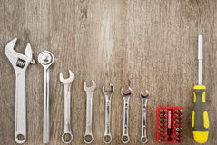 Tools. Handyman set of tools on a wood background Royalty Free Stock Photos