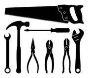 Tools. Hardware tools black and white icon set royalty free illustration