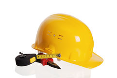 Tools and helmet of the builder Royalty Free Stock Images