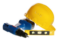 Tools and helmet of the builder Stock Photos