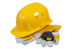 Tools and helmet of the builder Stock Image
