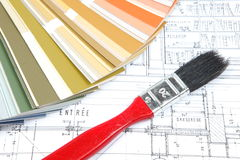 Tools for home renovation on architectural drawing Royalty Free Stock Photo