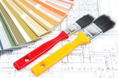 Tools for home renovation on architectural drawing Stock Image