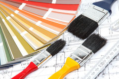 Tools for home renovation on architectural drawing Stock Photography