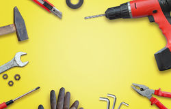 Tools for home repairs. Top view and free space for text