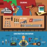 Tools Horizontal Banner Set Stock Photo