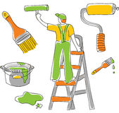 Tools & Housepainter. The housepainter and equipment. Isolated object on the white Royalty Free Stock Photography