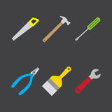 Tools icon flat style on dark background. In jpeg and eps 10 vector file format 2 Stock Photography