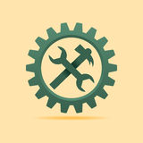 Tools icon inside the cog wheel Stock Photography