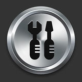 Tools Icon on Metallic Button Collection Stock Images