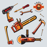 Tools icon set. Set of colored isolated icons with a work equipment stock illustration