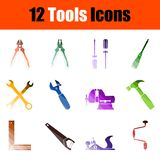 Tools Icon Set. Flat Color Ladder Design. Vector Illustration royalty free illustration