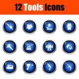 Tools Icon Set. Glossy Button Design. Vector Illustration royalty free illustration