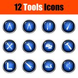 Tools Icon Set. Glossy Button Design. Vector Illustration stock illustration