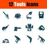 Tools Icon Set. Shadow Reflection Design. Vector Illustration royalty free illustration