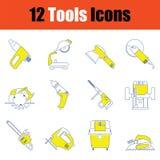 Tools icon set. Thin line design. Vector illustration royalty free illustration