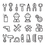 Tools icon set in thin line style. Illustration Stock Photos