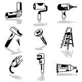 Tools icons 1. Vector hand drawn black & white illustrations royalty free illustration