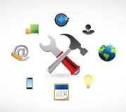 Tools and icons around. illustration Royalty Free Stock Images