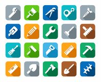 Tools, icons, background color, shadow. Stock Photography