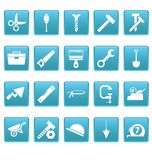 Tools icons on blue squares Royalty Free Stock Photos