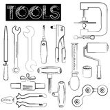 Tools icons. Construction tools, mechanical tools in sketch style Royalty Free Stock Photo