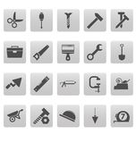 Tools icons on gray squares Stock Images