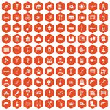 100 tools icons hexagon orange. 100 tools icons set in orange hexagon isolated vector illustration royalty free illustration