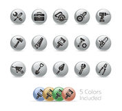 Tools Icons -- Metal Round Series Royalty Free Stock Photography