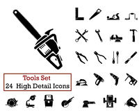 24 Tools Icons. Set of 24 Tools Icons in Black Color Stock Photos