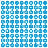 100 tools icons set blue. 100 tools icons set in blue hexagon isolated vector illustration Royalty Free Stock Image