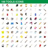 100 tools icons set, cartoon style. 100 tools icons set in cartoon style for any design illustration royalty free illustration