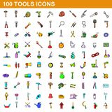 100 tools icons set, cartoon style. 100 tools icons set in cartoon style for any design illustration vector illustration