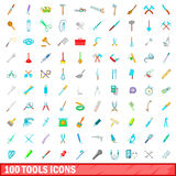 100 tools icons set, cartoon style. 100 tools icons set in cartoon style for any design vector illustration Stock Photo