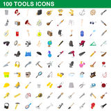 100 tools icons set, cartoon style. 100 tools icons set in cartoon style for any design vector illustration Stock Photos
