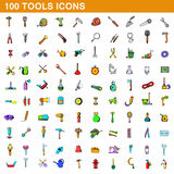 100 tools icons set, cartoon style. 100 tools icons set in cartoon style for any design vector illustration Royalty Free Stock Photography