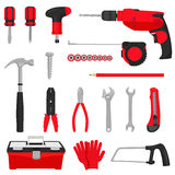 Tools icons set. Construction repair tools icons set  on white background. Colored flat vector illustration Stock Images