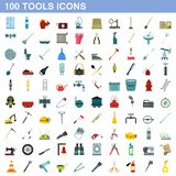 100 tools icons set, flat style. 100 tools icons set in flat style for any design illustration royalty free illustration