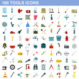 100 tools icons set, flat style Stock Photos