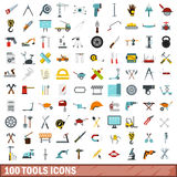 100 tools icons set, flat style. 100 tools icons set in flat style for any design vector illustration Stock Photos