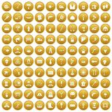 100 tools icons set gold. 100 tools icons set in gold circle isolated on white vector illustration stock illustration