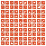 100 tools icons set grunge orange. 100 tools icons set in grunge style orange color isolated on white background vector illustration royalty free illustration
