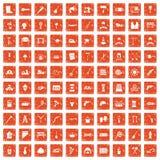 100 tools icons set grunge orange. 100 tools icons set in grunge style orange color isolated on white background vector illustration Royalty Free Stock Photo
