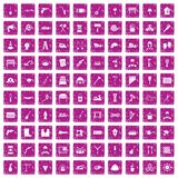 100 tools icons set grunge pink. 100 tools icons set in grunge style pink color isolated on white background vector illustration Stock Photos