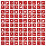100 tools icons set grunge red Stock Photo