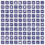 100 tools icons set grunge sapphire. 100 tools icons set in grunge style sapphire color isolated on white background vector illustration Royalty Free Stock Image