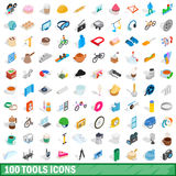 100 tools icons set, isometric 3d style. 100 tools icons set in isometric 3d style for any design vector illustration Royalty Free Stock Photo