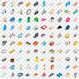 100 tools icons set, isometric 3d style. 100 tools icons set in isometric 3d style for any design vector illustration Royalty Free Stock Photos
