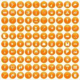 100 tools icons set orange. 100 tools icons set in orange circle isolated on white vector illustration stock illustration